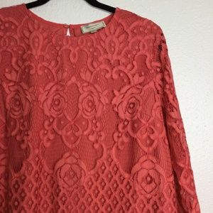 Anthropologie Tops - Anthro Moulinette Soeurs Patrie Lace Top Coral L